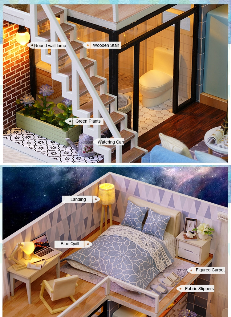 New Arriving DIY Miniature Model Dollhouse Blue Time With Furnitures LED 3D Wooden House Toys Handmade Best Gifts For Children (4)