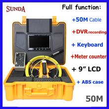 9inch LCD monitor 23mm camera head Wall Drain Sewer Pipe Line Inspection Camera System meter counter keyboard typing dvr 50meter(China)