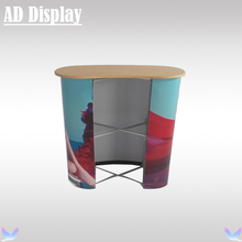 Curve Shape Advertising Display Pop Up Promotional Table,Trade Show Booth Pop Up Podium Counter(Not Include Banner)