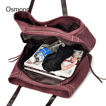 Osmond Vintage Large Canvas Handbag Red Hobos Bag Casual Shoulder Designer Women Solid Tote Ladies Portable Shopping 2017 Travel(China)