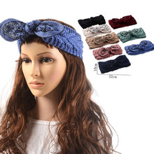 M MISM 2017 New Arrival Women Winter Warmer Knitted Turban Bow-knot Hair Elastic Handmade Headband Headwrap Hair Accessories(China)