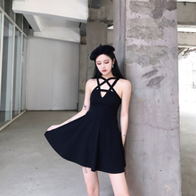 Buy Black Pentacle Hollow Design Sexy Summer Dress Women Sleeveless Halter V-neck Mini A-line Dress Gothic Girls Female