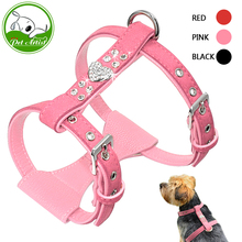 Bling Rhinestone Puppy Dog Harness Leather Padded Chihuahua Harnesses Vest With Heart Accessory For Small Medium Dogs Pink S M L(China)