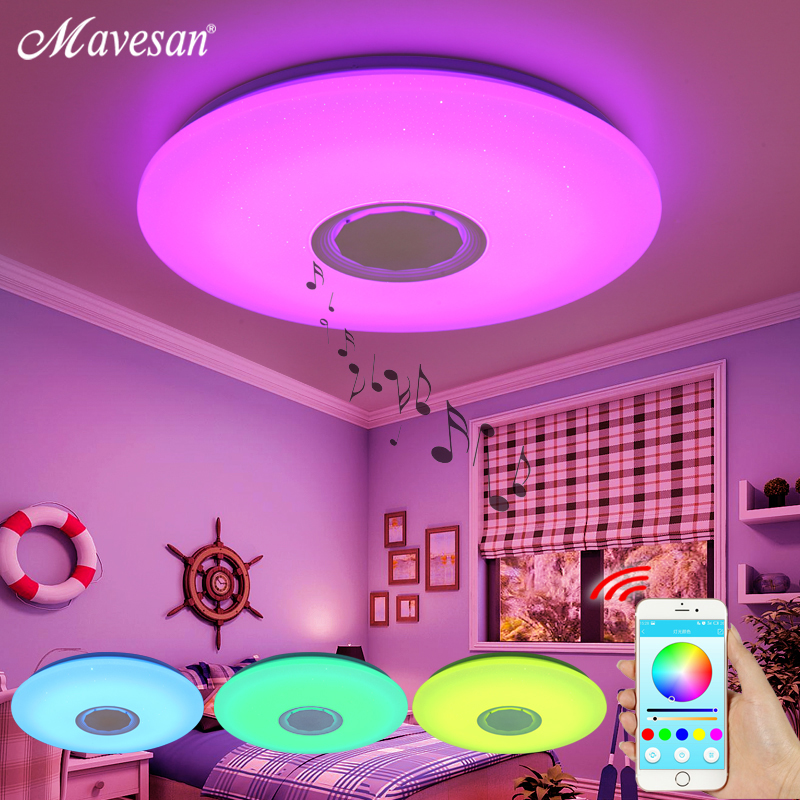 Modern Music LED ceiling Lights RGB Bluetooth ceiling lamp bedroom 25W 36W 52W APP Remote control light lampara de techo(China)