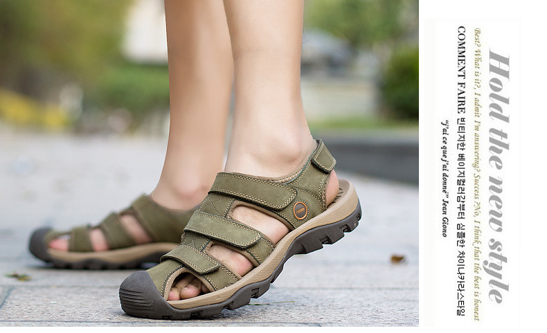 Summer Man Sandals Beach Shoes 2018 High Quality Genuine Leather Prevent Slippery Wear-resisting Outdoor Sandals Large Size 46 27 Online shopping Bangladesh