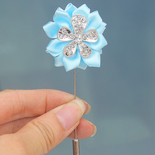 Free Shipping 5pcs/lot Baby Blue Satin Flowers Bridal Wedding Boutonniere Diamond Crystal Wedding Suit Pin Brooch Custom XH1902
