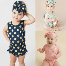 Baby Girl Clothes Tassel Gold Dots Bodysuit Playsuit Bow Head Band Outfits Set Sky Blue Pink Dark Blue 0-24Months(China)