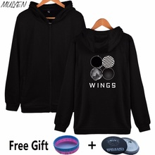 MULYEN BTS 2th Album WINGS Hoodies Women BTS Kpop Member Name Fans Supportive Zip-up Sweatshirt Moletom Feminino 2017