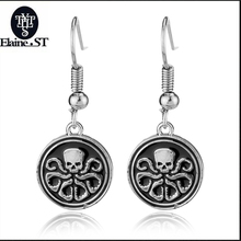 Marvel Comics logo Earrings Shield Agents of SHIELD S.H.I.E.L.D. Captain America Metal Octopus Earrings Fashion Jewelry(China)