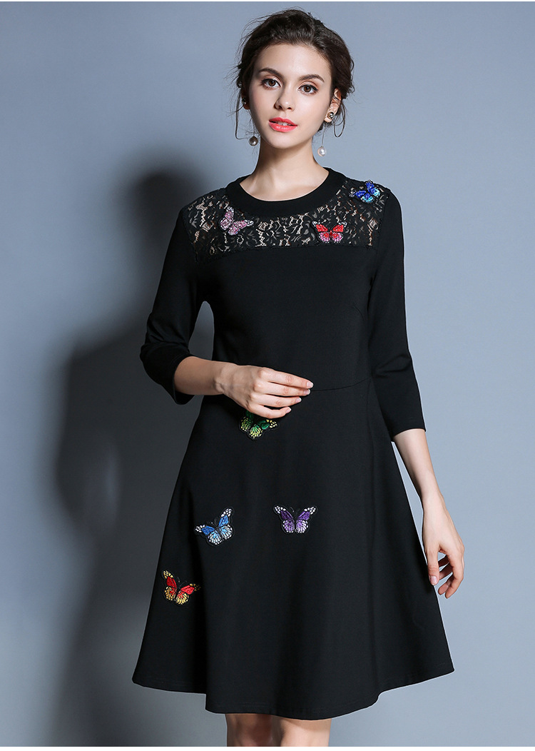 M L XL XXL 3XL 4XL 5XL plus size dress 3/4 sleeve black lace butterfly