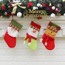 New Year Decor Christmas Decorations For Home 2017 Santa Claus Sock Christmas Tree Decorations Cheap Christmas Ornaments Snow(China)