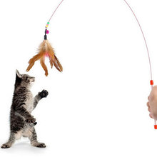 Creative Random Colored Feathers Funny Cats Wire Rods Flying Bell Favorite Cats Toy For Pet Products #79931