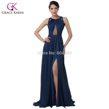 Elegant Split Navy Blue Long Evening Dresses 2017 Grace Karin Backless Chiffon Gowns Sexy Formal Dress for Special Occasion 6281