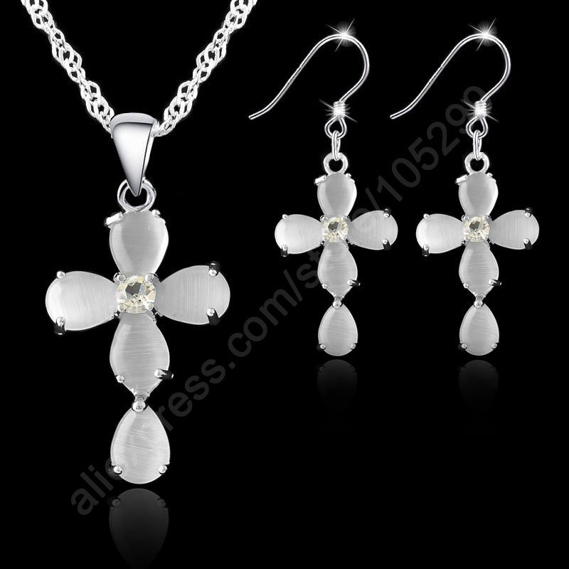 JEXXI Fashion Jewelry Sets 925 Sterling Silver Cross Crystal Pendant Necklaces Hook Earrings For Women Best Gifts Free Ship(China)