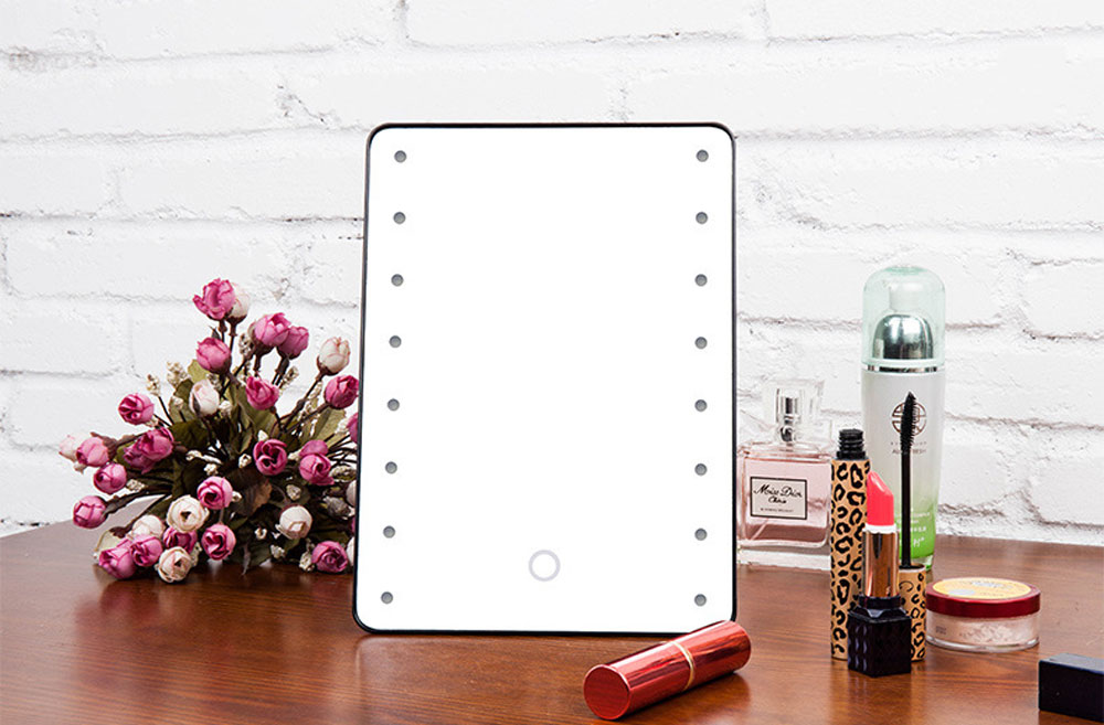 Adjustable Vanity Tabletop Countertop Mirror Make-up Cosmetic Mirror 16 LEDs Lighted Makeup Mirror Portable with Touch Screen<br><br>Aliexpress