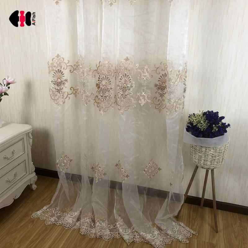 European Luxury Embroidered Floral Curtains Beige White Wedding Bedroom Window Treatment Drape Nets Gauze 2018 Autumn P160C