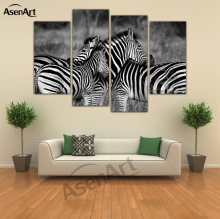 4 Panel Art Zebra Painting Horse Black and White Animal Painting for Living Room Wall Art Canvas Prints Unframed