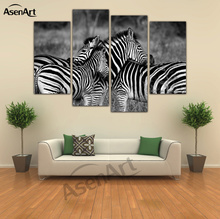 4 Panel Art Zebra Painting Horse Black and White Animal Painting for Living Room Wall Art Canvas Prints Unframed(China)