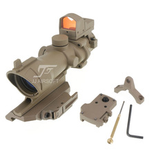 JJ Airsoft ACOG Style 4x32 Scope with Mini Red Dot  , AC12033 Bobro Style Quick Release / QD Mount (Tan) FREE SHIPPING
