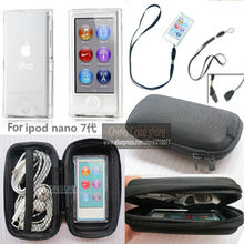 Durable Tough storage box+Crystal Case Cover+detachable Lanyard For Apple iPod Nano 7th 8th Gen With Screen Protector