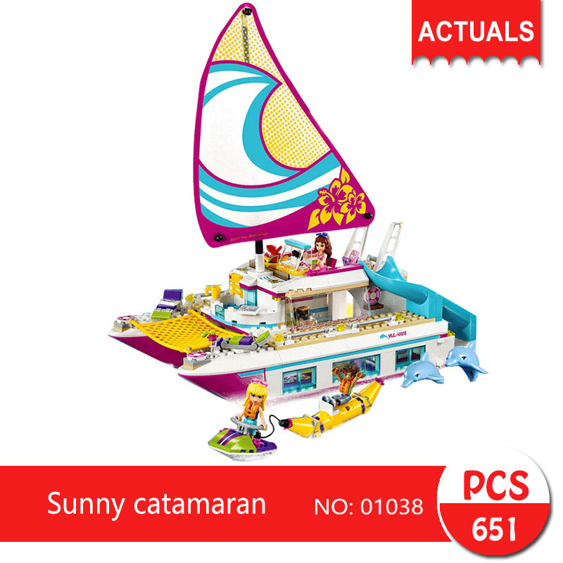 Lepin 01038 651Pcs Friends series Sunny catamaran  Building Blocks   Bricks Toys For Children Gift Toy girl<br>