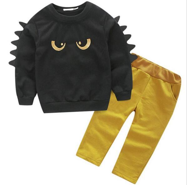 Boys-clothes-set-2017-Autumn-2pcs-suit-Cartoon-black-eyes-Kids-boy-girls-Tops-Yellow-trend