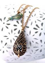 Fashion Jewelry Bird Nest Pendant Necklace Cute Lovely Jewelry For Girls Antique Gold Color Vintage Necklace Two Chains