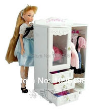 Free shipping, girl birthday gift, 1 play toy furniture closet wardrobe shoe cabinet +10 accessorries+10 hangers for barbie doll
