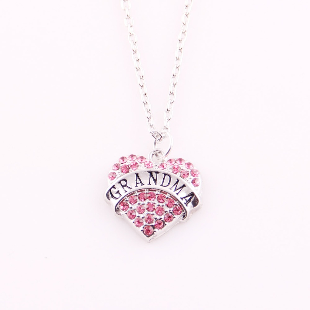 Mother's Day birthday Best Gift Grandma MOM NANA Family Necklace Crystal Heart Pendant Rhinestone Women Jewelry(China)