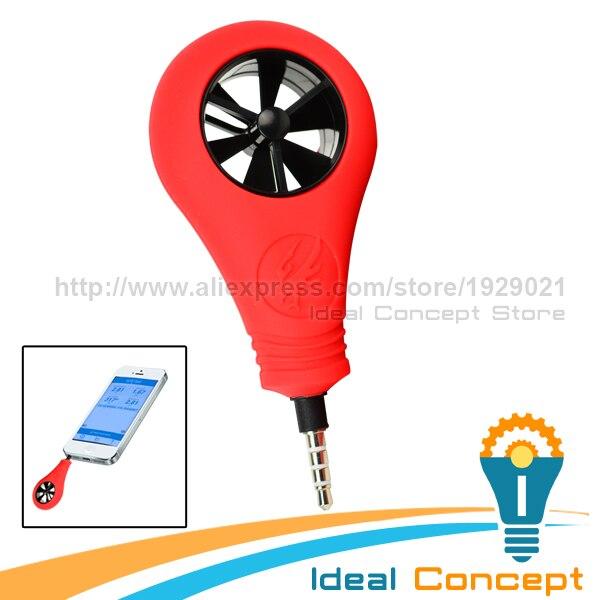 Handheld Smartphone Airflow Weather Wind Speed iOS iPhone iPad Meter Anemometer 2-89mph<br>