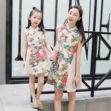 Children's dress 2017 new children's clothing 3-11 years old printed floral mosaic dress Chinese style cheongsam dress