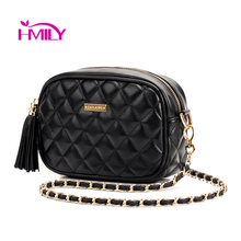 Women leather bag diamond lattice black cute Mini messenger bags chain makeup bag women brands shoulder bag