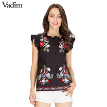 Vadim women sweet ruffles floral embroidery shirts sleeveless black vintage blouse ladies casual European style tops WT441(China)