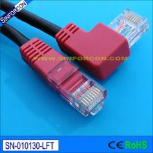 24awg, 586B, CAT5E, UTP, Angled lan cable, L shape rj45 patch cord, l shape ethernet cable