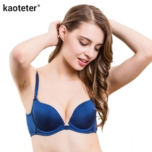 Buy 100% Pure Silk Women's Front Buckle Bras Women Wire Free Chest Thin 3/4 Cup Female Bra Sexy Solid Woman Gathered Underwear