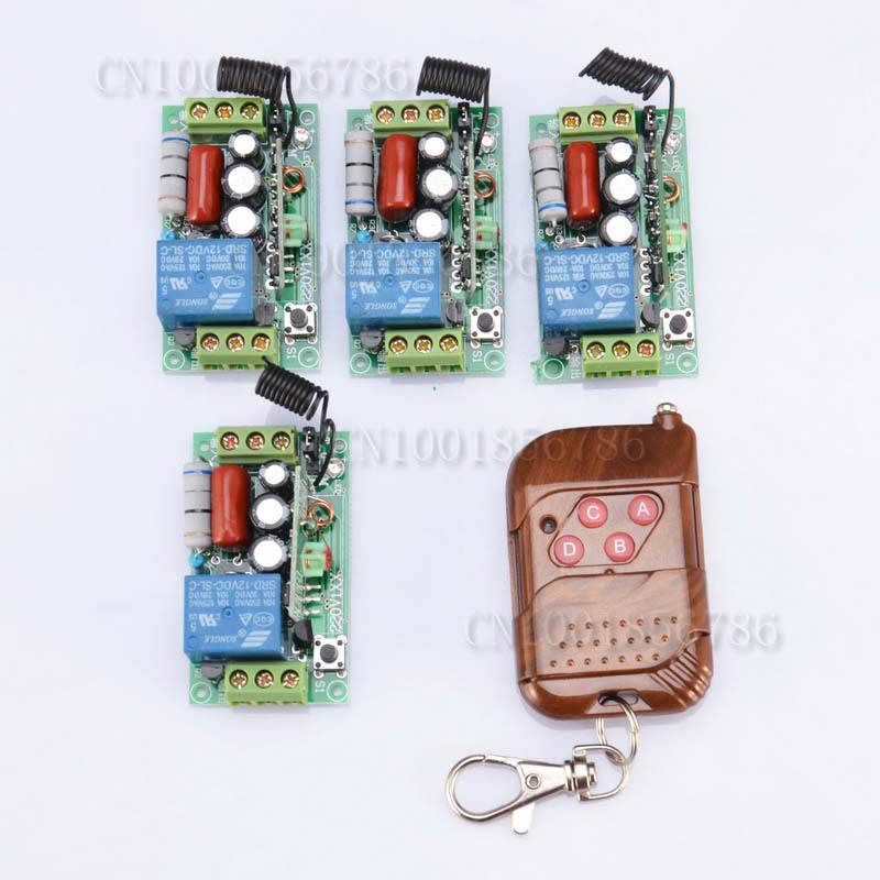 FreeShipping AC220V 10A Remote Control Switch 4 Receiver 3 Transmitter Learning Code Momentary Toggle Latched adjusted<br><br>Aliexpress