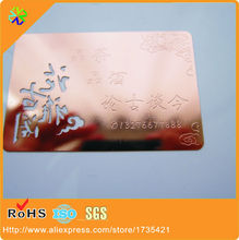 (200pcs/lot)high quality special color with plated rose golden card metal for business/membership/club(China)