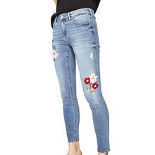 NYMPH Femme Jeans Women Summer 2017 Female Denim Flower Embroidery Jeans Femme Skinny Jeans Stretch Slim Jeans Pants