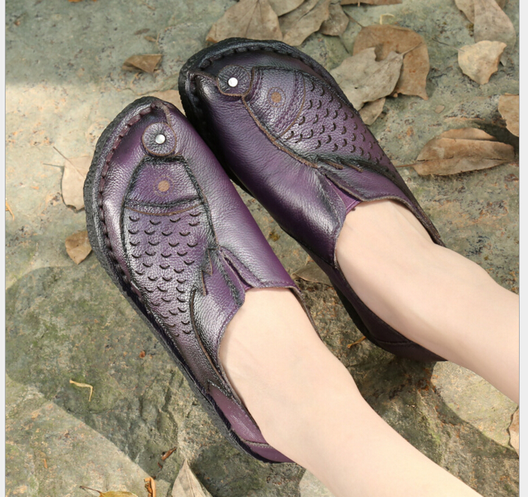 New Genuine leather spring flat heel women shoes handmade national flat shoes comfortable soft single shoes 988<br>