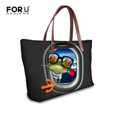 2016 New Arrive Women Shoulder Bag Black Ptinted Frog Handbag Female Daily Use Single Shoulder Bag Casual Tote Blosas Feminina