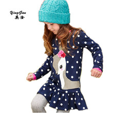 New Children Of Roe Deer Animal Print Deer Bow Long Sleeved Clothing Party Girl Clothing T-shirts And Children blue girl dress