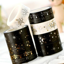 Cute creative Golden Blocking Masking Silver Adhesive Tape Japanese Washi Tape DIY Album Scrapbook Decoration Sticky Stationery
