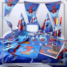 174pcs\lot Spiderman Theme Plates Kids Favors Birthday Party Tablecloth Cups Napkins Baby Shower Bags Straws Decoration Supplies