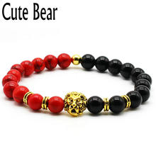 Cute Bear Brand Women Bracelet Red Stone Frosted Stone Volcanic Lava Stone Onyx Beads Metal Lion Head Beaded Bracelet Women Jewe