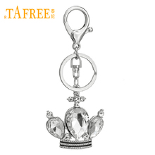 TAFREE Luxury Crystal Crown Key Chains Silver Metal Keyring for Women Party Gift Bag/Cell Phone Pendant Keychains N0020