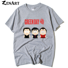 Green Day band cartoon members southpark Billie Joe Armstrong Mike Dirnt TrE Cool man boys o-neck plus size short-sleeve T-shirt