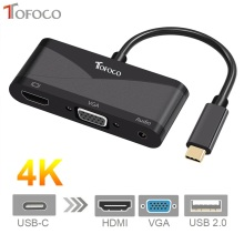 TOFOCO USB C Type C to HDMI VGA 3.5mm Audio Adapter 3 in 1 USB 3.1 USB-C Converter Cable for Laptop Macbook Google