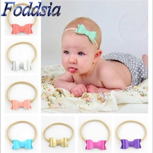 12pcs/lot Leather Bow Cute Nylon Headband with Elasticity Faux Leather Stretch Head Band Kid Head Wrap Hair Bow Accessories F10