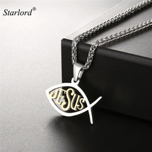 Starlord Christian Fish/Ichthys Pendant Necklace Gold Color Stainless Steel Christian Symbols Jesus Fish Necklace GP2520(China)