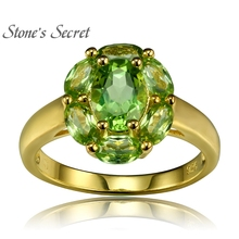 2.27ctw Oval Manchurian Peridot 18k Gold Over Silver Ring - STZ646(China)